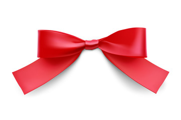Red bow. Vector illustration on white background. Can be use for decoration gifts, greetings, holidays, etc.