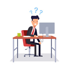 Businessman does not understand what was going on. Man in a business suit sitting in a chair at a desk and looking at computer monitor. Vector illustration in flat style isolated on white background.