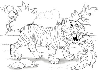 At the zoo. African animals. A cute tiger is looking at a little bird. Illustration for children. Coloring book. Coloring page. Cartoon characters.