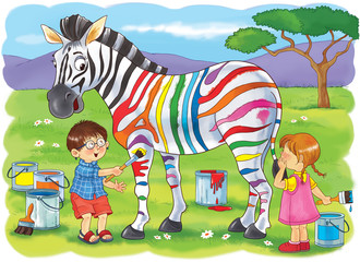 At the zoo. African animals. Cute boy and girl are painting zebra's strips in different colors. Illustration for children. Coloring book. Coloring pages. Cartoon characters.
