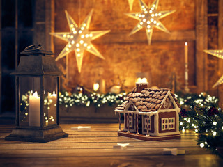 beautiful gingerbread house with christmas lantern. 3d rendering