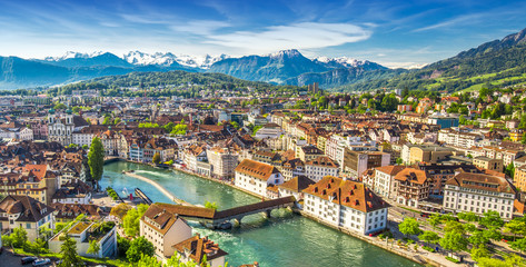 Pilatus mountain and historic city center of Lucerne, Central Switzerland Wall mural