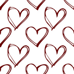 Red hearts - seamless vector pattern. White background.