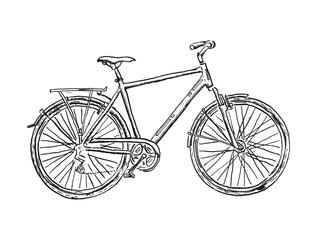 Old bicycle sketch illustration