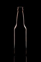 Silhouette beer bottles on black