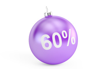 Christmas Sale 60% concept, 3D rendering