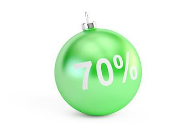 Christmas Sale 70% concept, 3D rendering