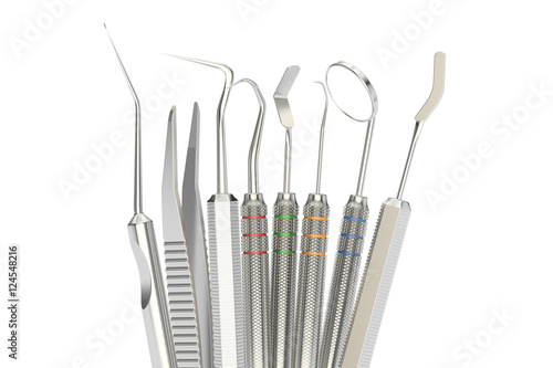 Set of dental tools 3d rendering stock photo and Online rendering tool