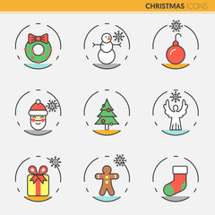 Christmas and Happy New Year 2017 Thin Line Vector Icons Set with Santa Claus Snowflakes and Christmas Tree