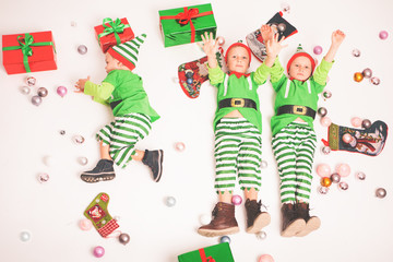 Merry Christmas 2016. Black Friday. Cute little kids