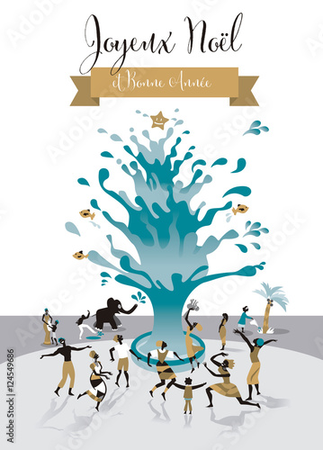 christmas card with water tree french text in french english translation