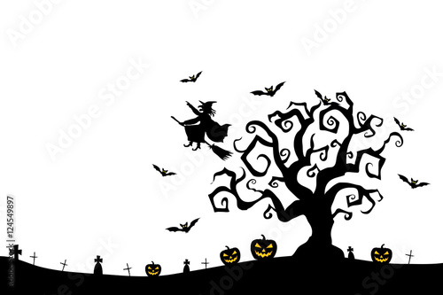 halloween witch spooky pumpkins and flying bats cover card