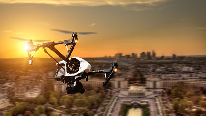 Drone flying above Paris city