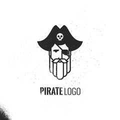 Man with beards and mustache wearing a pirate hat logo.