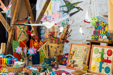 Fotobehang Nepal Wooden toys at Market in Jertes Valley