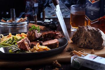 Dinner brutal men. . Meat, whiskey and cigars