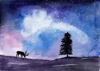 Deer on watercolor galaxy background