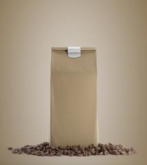 Beige pack of coffee against beige background