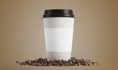 White cup of coffe against beige background