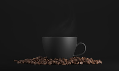 Poster Cafe Black cup of coffee against black background