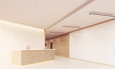 Reception desk in long sunlit corridor