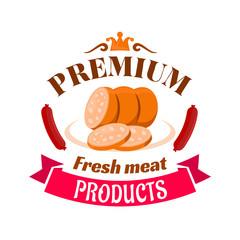 Sausage premium fresh meat products emblem