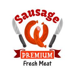 Premium fresh meat sausage emblem
