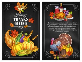 Thanksgiving Day greeting holiday banners