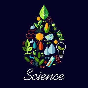 Science emblem in drop shape with symbols