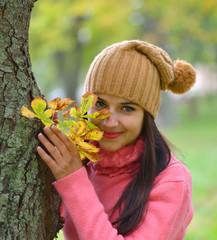 young woman portrait in autumn color