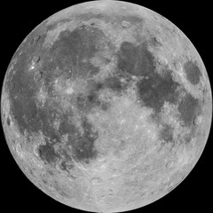Full Moon, photo combined with illustrated craters, isolated on