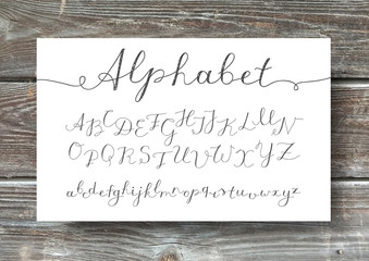 vector handwritten lettering alphabet, calligraphic font on old wood texture