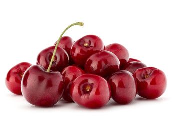 Fototapete - cherry berries pile isolated on white background cutout