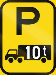 Fototapeta Temporary road sign used in the African country of Botswana - Parking for goods vehicles exceeding 10 tonnes GVM obraz