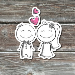 hand drawn wedding couple, groom and bride, paper sticker on realistic wood texture