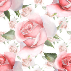 Seamless pattern with pink watercolor roses.