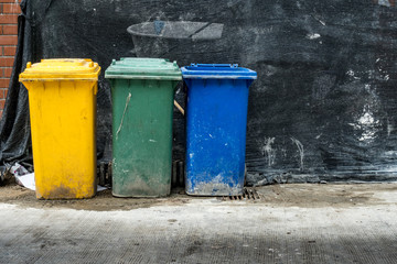 Three color trash can