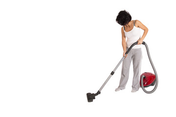 female cleaning house vith vacuum cleaner