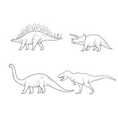 Set of Dinosaurs Illustration isolated on white background. Vector