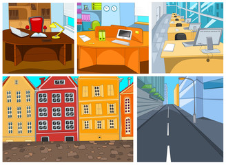 Vector cartoon set of city office backgrounds.