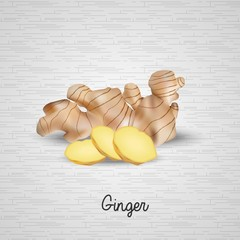 Fresh ginger and slices illustration