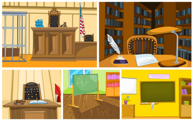 Vector cartoon set of court and school backgrounds
