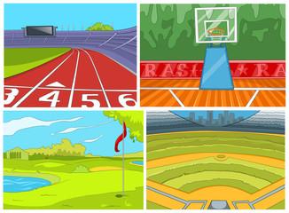 Cartoon set of sport infrastructure backgrounds.