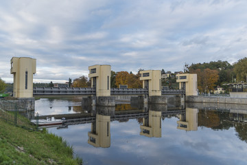 Hluboka nad Vltavou lock chamber in autumn time
