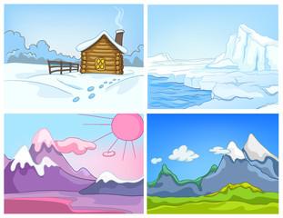 Vector cartoon set of winter backgrounds.