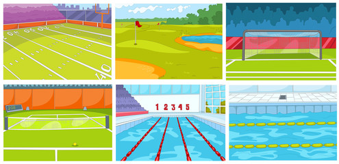 Cartoon set of backgrounds - sport infrastructure