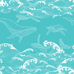 Whale family swimming in the ocean waves, pattern seamless background