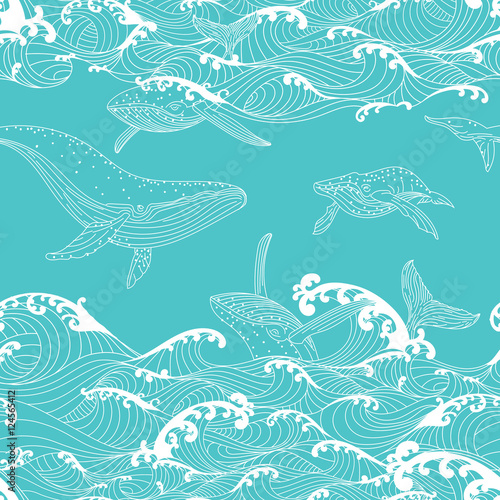 quotwhale family swimming in the ocean waves pattern