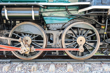 Old steam train,wheels and suspention.