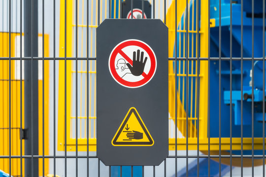 Safety sign on machine